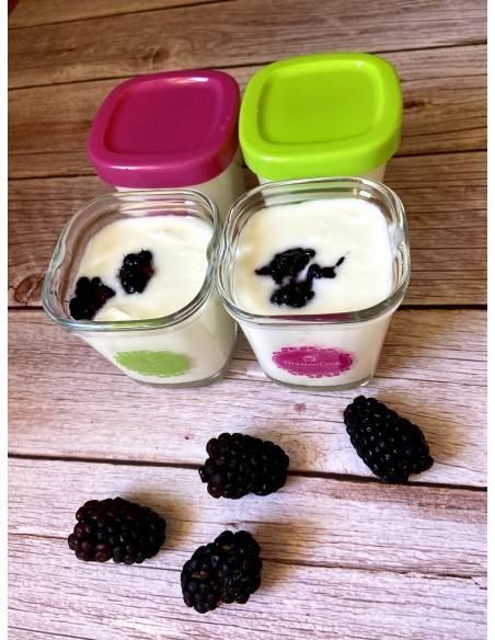 Vista de dos vasos de yogur con el logo de FussionCook.