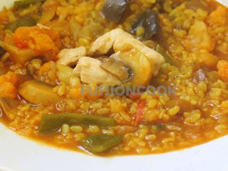 Recetas FussionCook: Arroz integral con pollo y verduras