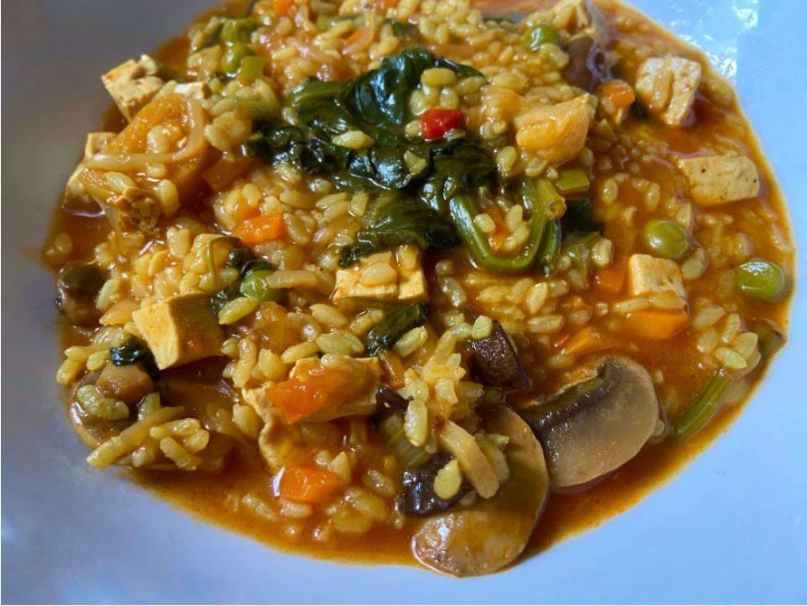 Arroz Meloso con Vegetales y Tofu
