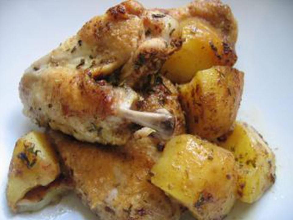 Alitas de Pollo Especiadas con Patatas