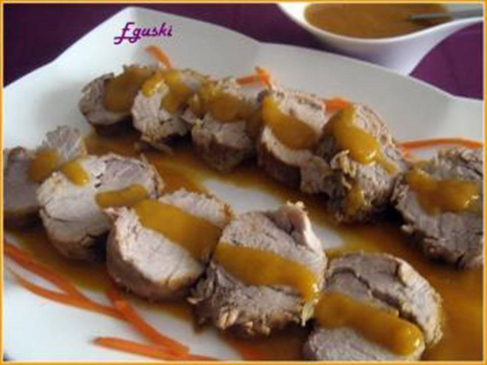 Recetas FussionCook: Solomillo de cerdo con salsa de mango.