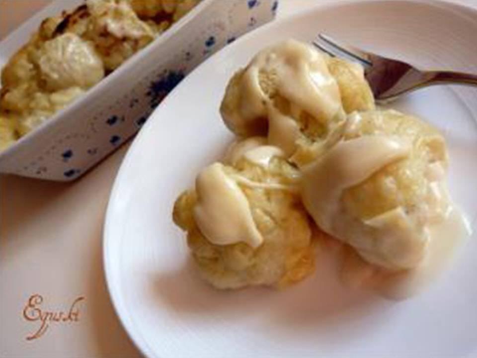 Recetas FussionCook: Coliflor con bechamel de queso.